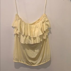 Cute yellow strapless summer top with ruffles